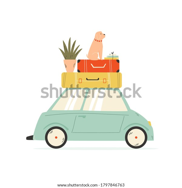 Van carrying suitcases, flowerpot and dog . Relocation, moving concept. Vector illustration