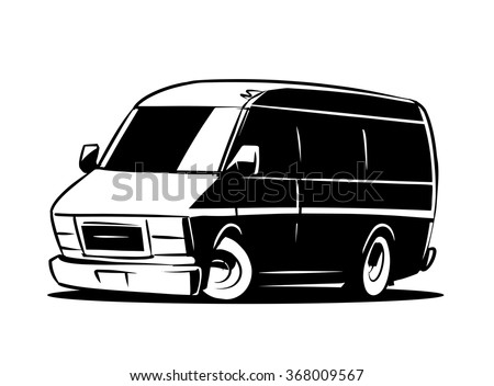 Van Clipart Black White Vector Illustration Stock Vektorgrafik