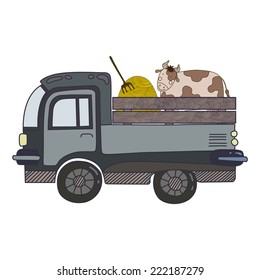 Van with a Cow Vector Illustration