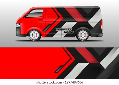 Van decal cargo and car wrap vector, truck, bus, racing, service car, auto designs . Graphic abstract background livery .