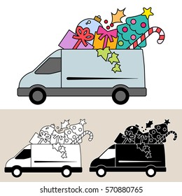Van delivering Christmas gifts and Christmas tree decorations with candy, holly and ivy. Isolated, flat, side view illustration with black and white versions