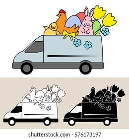 Van delivering Easter goods and gifts with chocolate egg, Easter bunny, chick, hen and tulips. Isolated, flat, side view illustration, and black and white versions