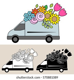 Van delivering fresh flowers and bouquets, with sunflowers, tulips and roses. Isolated, flat, side view illustration with black and white versions