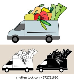 Van delivering fresh fruit and vegetables. Isolated, flat, side view illustration, and black and white versions