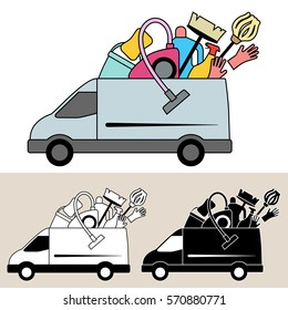 Van delivering mobile service of cleaning supplies and equipment with mop, bucket, vacuum cleaner, broom and rubber gloves. Isolated, flat, side view illustration with black and white versions