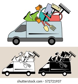 Van delivering mobile service with garden tools and equipment, rake, watering can, trowel, fork and bucket. Isolated, flat, side view illustration, and black and white versions