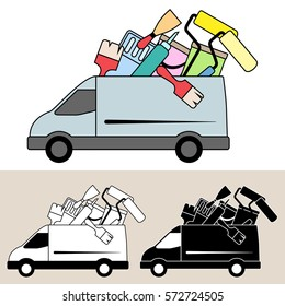 Van delivering mobile service with painting and decorating tools and equipment, paint, brushes, scraper and rollers. Isolated, flat, side view illustration, and black and white versions