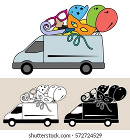 Van delivering party goods and services with balloons, mask party blower and party hat. Isolated, flat, side view illustration, and black and white versions