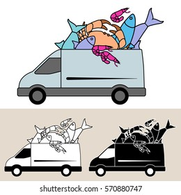 Van delivering seafood with fresh fish, crab and prawn, Isolated, flat, side view illustration, with black and white versions