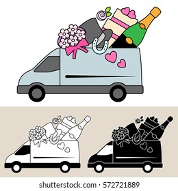 Van delivering wedding supplies and services with wedding cake, bouquet, top hat, lucky horseshoe and champagne. Isolated, flat, side view illustration, and black and white versions