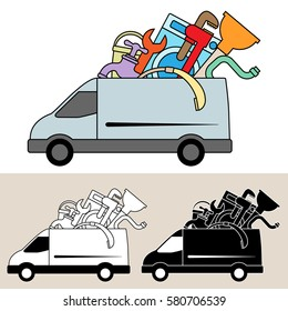 Van delivery of mobile plumbing service and materials. Isolated, flat, side view illustration, and black and white versions