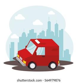 van delivery vehicle isolated icon