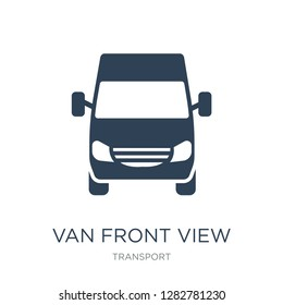 van front view icon vector on white background, van front view trendy filled icons from Transport collection, van front view vector illustration