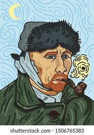 van gogh vector art illustration design
