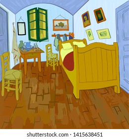 "Van Gogh's bedroom. Digital reproduction of Van Gogh's painting ""Bedroom in Arles"" (1888). Post-impressionism style. Vector."