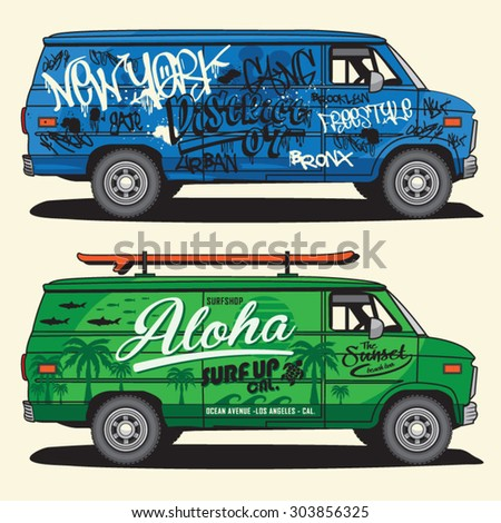 f56951c4d8c7 Van Graffiti Surf Typography Tshirt Graphics Stock Vector (Royalty ...