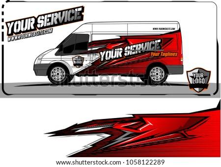 Van Graphic Kit Abstract Racing Graphic Stock Vector