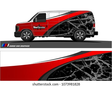 Van graphics.abstract curved shape with modern camouflage design for vehicle vinyl wrap and car branding