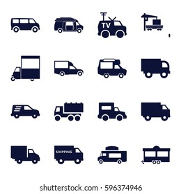 van icons set. Set of 16 van filled icons such as truck, trailer, cargo truck, delivery car