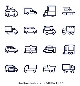 van icons set. Set of 16 van outline icons such as truck, trailer