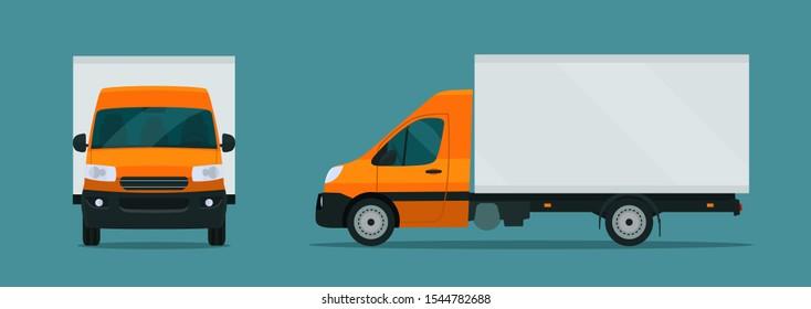 Сargo van isolated. Сargo van with side and front view. Vector flat style illustration.