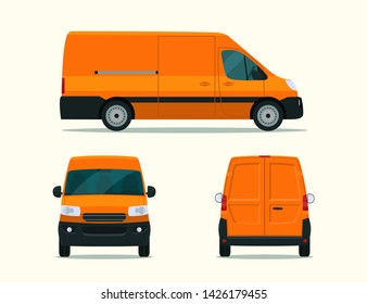 Сargo van isolated. Сargo van with side view, back view and front view. Vector flat style illustration.