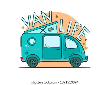 Van Life emblem. Hand-drawn minivan with lifting roof. Motorhome against the background of the rising sun. Retro Vector illustration on the theme of travel, caravanning, camping, hiking and motorhomes
