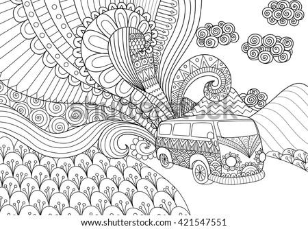 Van Line Art Design Coloring Book Stock Vector (Royalty Free ...