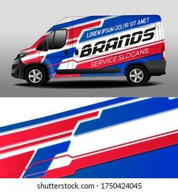 Van livery design. Car sticker. Stripes. Development of car design for the company. Car branding. Blue-red background for car vinyl sticker