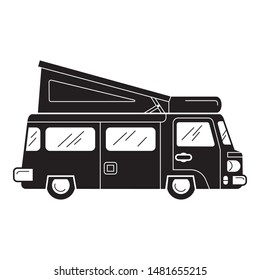 Van motorhome icon. Simple illustration of van motorhome vector icon for web design isolated on white background