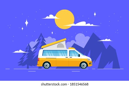 The van is parked in a beautiful location under the moon and stars for the night. Camper van travel concept, for young and independent people who enjoy outdoor activities and have a passion for travel