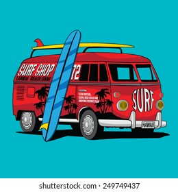 Van Surf Illustration, t-shirt graphics, vectors, typography