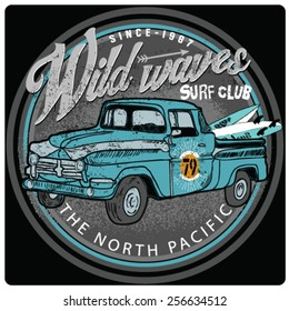 Van Surf Illustration, t-shirt graphics, vectors, typography