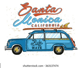 Van Surf Illustration, t-shirt graphics, vectors, typography.Santa monica