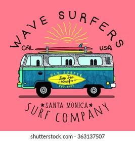 Van Surf Illustration, t-shirt graphics, vectors, typography.