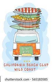 Van Surf Illustration / t-shirt graphics / vectors/ typography/ pacific surf wave/ summer tropical heat print/ surf print vector set/ wave illustration