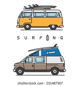 Van with surfboard on top of the roof on white background