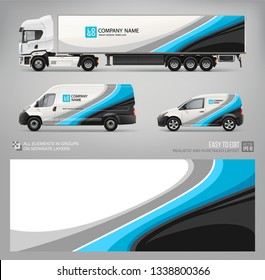 Van, truck trailer wrap decal for livery branding design and corporate identity company . Abstract graphic of blue stripes Wrap, sticker and decal design for transport. Realistic Services Cars mockup