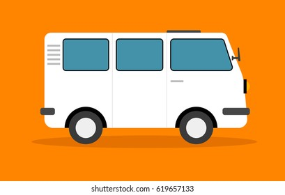 Van truck vector, Children illustration for School books. Separate Objects