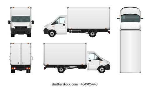 Van vector mock-up. Isolated template of box truck on white background. Vehicle branding mockup. Side, front, back, top view. All elements in the groups on separate layers. Easy to edit and recolor.