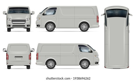 Van vector mockup on white background for vehicle branding, corporate identity. View from side, front, back, top. All elements in the groups on separate layers for easy editing and recolor