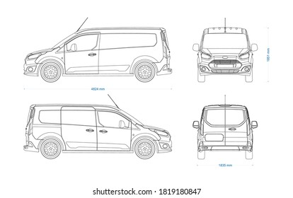 Van vector template for car branding and advertising. Light commercial van marketed by multiple brands - Second generation. Truck blueprint. Delivery truck empty template. Blank commercial truck.