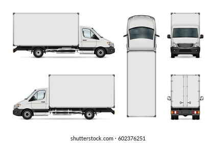 Van vector template for car branding and advertising. Isolated delivery truck on white background. All layers and groups well organized for easy editing. View from side, back, front and top.