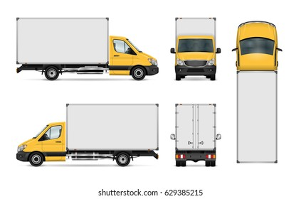 Van vector template for car branding and advertising. Isolated delivery truck set. All layers and groups well organized for easy editing and recolor. View from side, front, back, top.