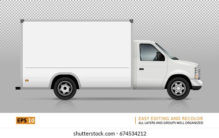 Van vector template for car branding and advertising. Isolated cargo truck set on transparent background. All layers and groups well organized for easy editing and recolor. View from right side.