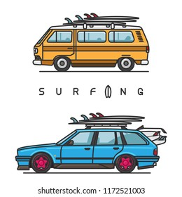 Van and wagon cars with surfboard on top of the roof on white background