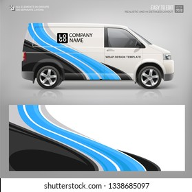 Van wrap decal for livery branding design and corporate identity company . Abstract graphic of blue stripes Wrap, sticker and decal design for services car. Realistic Van mockup