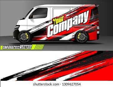 van wrap design. simple lines with abstract background vector concept for vehicle vinyl wrap and automotive decal