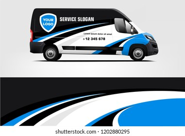 Van wrap design. Wrap, sticker and decal design for company. Vector format