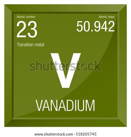 Vanadium Symbol Element Number 23 Periodic Stock Vector Royalty